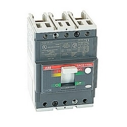 3 pole, 90 amps rated at 480V AC, Tmax molded case circuit breaker with a thermal magnetic trip device and 35kA at 480V AC interrupt current rating