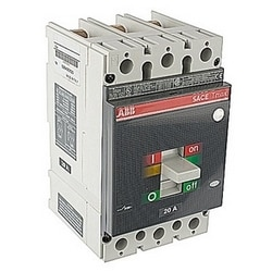 3 pole, 20 amps rated at 600V AC, Tmax molded case circuit breaker with thermal magnetic trip device and 25kA at 480 V AC interrupt current rating