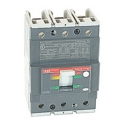 3 pole, 100 amps rated at 480V AC and 500V DC, Tmax molded case circuit breaker with a thermal magnetic trip device and 35kA at 480V AC interrupt current rating
