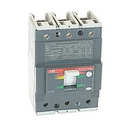 3 pole, 125 amps rated at 480V AC and 500V DC, Tmax molded case circuit breaker with a thermal magnetic trip device and 35kA at 480V AC interrupt current rating