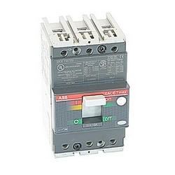 3 pole, 15 amps rated at 480V AC and 500V DC, Tmax molded case circuit breaker with a thermal magnetic trip device and 14kA at 480V AC interrupt current rating