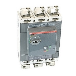 3 pole, 600 amps rated at 600V AC/DC, Tmax molded case circuit breaker with a thermal magnetic trip device and 100kA at 480V AC interrupt current rating