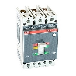 3 pole, 25 amps rated at 600V AC, Tmax molded case circuit breaker with magnetic only (MCP) trip device and 25kA at 480V AC interrupt current rating