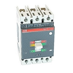 3 pole, 20 amps rated at 600V AC/DC, Tmax molded case circuit breaker with a thermal magnetic trip device and 65kA at 480V AC interrupt current rating