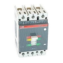 3 pole, 40 amps rated at 600V AC/DC, Tmax molded case circuit breaker with a thermal magnetic trip device and 65kA at 480V AC interrupt current rating