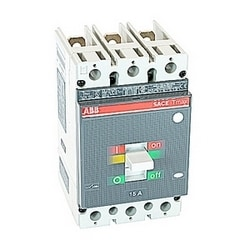 3 pole, 15 amps rated at 600V AC/DC, Tmax molded case circuit breaker with a thermal magnetic trip device and 25kA at 480V AC interrupt current rating
