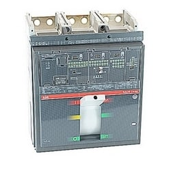 3 pole, 1200 amps rated at 600V AC, Tmax molded case breaker with an electronic trip unit, LS/I operation, and 50kA at 480V AC interrupt current rating