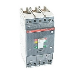 3 pole, 250 amps rated at 600V AC, Tmax molded case circuit breaker with magnetic only (MCP) trip device and 65kA at 480V AC interrupt current rating