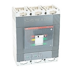 3 pole, 600 amps rated at 600V AC, Tmax molded case circuit breaker, 100% rated with an electronic trip device and 65kA at 480V AC interrupt current rating