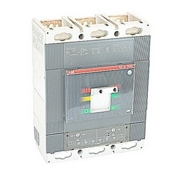 3 pole, 600 amps rated at 600V AC, Tmax molded case circuit breaker, 100% rated with an electronic trip device and 35kA at 480V AC interrupt current rating