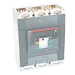 3 pole, 800 amps rated at 600V AC, Tmax molded case circuit breaker, 100% rated with an electronic trip device and 35kA at 480V AC interrupt current rating