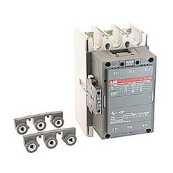 3 pole, 350 amp, non-reversing across the line contactor with 208V AC coil and 1 NO and 1 NC auxiliary contacts