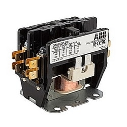 2 pole, 30 amp, non-reversing, definite purpose contactor, 208/240V AC coil, industry standard mounting plate, bulk packaged