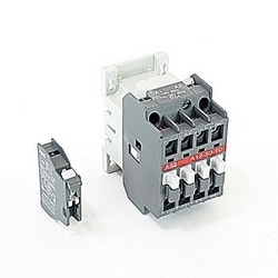 3 pole, 27 amp, non-reversing across the line contactor with 110-120V AC coil and 1 NO and 1 NC auxiliary contacts