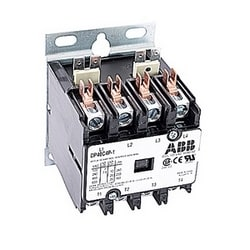 4 pole, 40 amp, non-reversing, definite purpose contactor, 120V AC coil, industry standard mounting plate