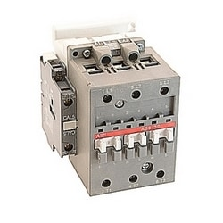 3 pole, 55 amp, non-reversing across the line contactor with 200-220V AC coil and 1 NO and 1 NC auxiliary contacts