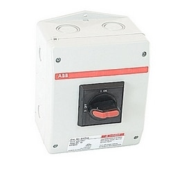 3 pole, 45 amps rated at 600 V AC, UL 508, enclosed non-fusible disconnect switch in a UL/NEMA 3R/12 plastic enclosure