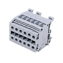 Gray distribution terminal blocks with 6 blocks and UL rated 50 Amps with a screw clamp connection that accepts 20 - 8 AWG wire range
