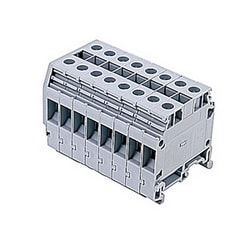 Gray distribution terminal blocks with 8 blocks and UL rated 50 Amps with a screw clamp connection that accepts 20 - 8 AWG wire range