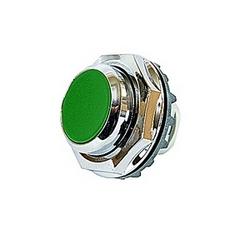 Bouton-poussoir modulaire, momentané avec bouton vert non éclairée et montage 30mm Cadran métal chrome