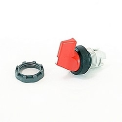 Modular, 3 position, maintained, non-illuminated selector switch with red long handle