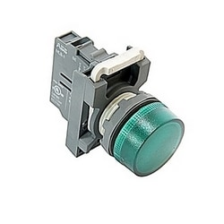 Modular pilot light with flat round green lense and 22mm mounting, LED, 230 V AC direct voltage