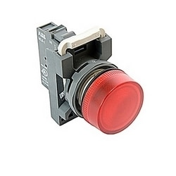 Modular pilot light with flat round red lense and 22mm mounting, incandescent, 24V AC/DC lamp voltage