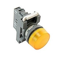 Voyant modulaire avec 22mm plat rond jaune lentille et montage 22mm, ampoule à incandescence et 120V AC 110V tension lampe
