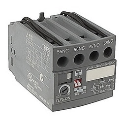 4 pole ON-delay electronic timer with 24-240V control circuit voltage and 1 NO and 1 NC auxiliary contacts for A/E/L9 - A/E/L40, A/E/F45 - A/EF75 contactors