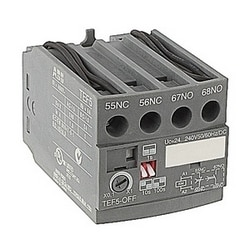 4 pole OFF-delay electronic timer with 24-240V control circuit voltage and 1 NO and 1 NC auxiliary contacts for A/E/L9 - A/E/L40, A/E/F45 - A/EF75 contactors