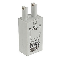 Plugin control relay with 6-24 V AC rated control supply voltage with spark quenching functionality