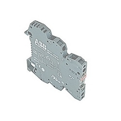 R600, 6 mm wide, 115V AC/DC interface relay module with screw clamp connections and a 0.01-6 amp rated 1 normally open relay contact with LED indicator