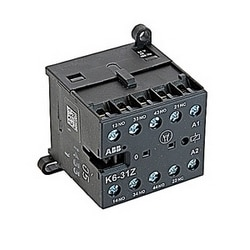 4 pole, 3 NO and 1 NC, K6 miniature control relay with screw terminals and 24V AC/DC control voltage