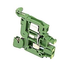 Bloc de terre verte et jaune, avec contact rail avec espacement de 6 mm, ampli évalué UL actuelles à la fois à déplacement d'isolant et anastomose vis qui acceptent le 22-16 fil AWG, gamme pour IDC et 22-10 gamme fil AWG pour raccordement à vis