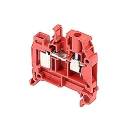 Red, feed through terminal block with 6 mm spacing, 18 Amp rated UL current with both insulation displacement and screw clamp connections that accept 22-16 AWG wire range for IDC and 22-10 AWG wire range for screw clamp connection