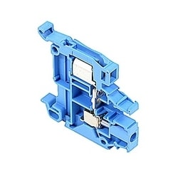 Blue, feed through terminal block with 6 mm spacing, 18 Amp rated UL current with both insulation displacement and screw clamp connections that accept 22-16 AWG wire range for IDC and 22-10 AWG wire range for screw clamp connection