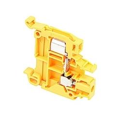 Jaune, alimentation par bloc avec espacement de 6 mm, Amp 18 Note : UL actuelles à la fois à déplacement d'isolant et anastomose vis qui acceptent le 22-16 fil AWG, gamme pour IDC et 22-10 gamme fil AWG pour raccordement à vis