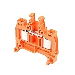 Orange, feed through terminal block with 6 mm spacing, 18 Amp rated UL current with insulation displacement system connection that accepts AWG UL wire range