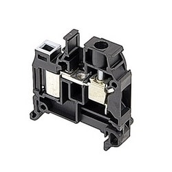 Black, feed through terminal block with 8 mm spacing, 25 Amp rated UL current with both insulation displacement and scew camp connections that accept 16-14 AWG wire range for IDC and 22 - 8 AWG wire range for screw clamp connection