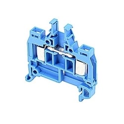 Blue, feed through terminal block with 5 mm spacing, 7 Amp rated UL current with insulation displacement system connection that accepts AWG UL wire range