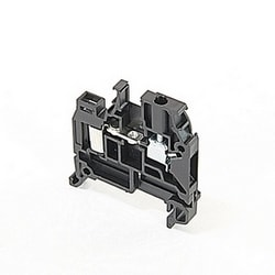 Black, feed through terminal block with 5 mm spacing, 7 Amp rated UL current with both insulation displacement and screw clamp connections that accept 24-18 AWG wire range for IDC and 22-12 AWG wire range for screw clamp connection