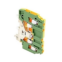Green and yellow ground terminal blocks electrically connected to the mounting rail with 6 mm spacing, 480 amp rated current