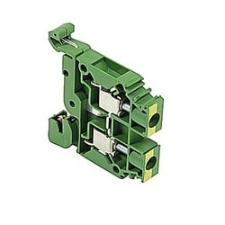 Green and yellow ground block with screwless rail contact. 8 mm spacing and screw clamp connection that accepts 22-8 AWG UL wire range