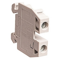 Gray miniblock terminal block with 6mm spacing and 30 amp UL rated current with screw clamp connection
