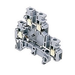 Gray electronic component holder terminal blocks with negative output, 20 Amps rated with a screw clamp connection