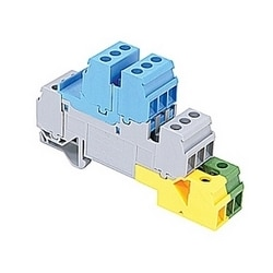 Blue, gray, green and yellow screw clamp terminal block with 17.8 mm spacing and 30 amp UL rated current with screw clamp connection