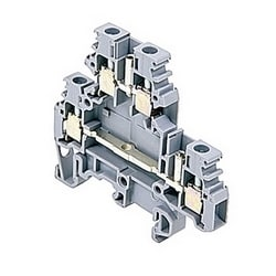 Gray double deck terminal blocks with negative output, 20 Amps UL rated with a screw clamp connection that accepts 22-12 AWG wire range