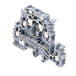 Gray Neon fuse holder terminal blocks double-deck for 5 x 20 and 5 x 25 mm fuses, 20 Amps UL rated with a screw clamp connection that accepts 24-12 AWG wire range