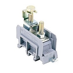 Gray power terminal blocks, 115 Amps UL rated with a screw clamp connection that accepts 10-2 AWG wire