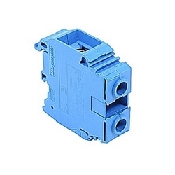 Blue, feed through terminal block with 16 mm spacing, 150 Amp rated UL current with screw clamp connection that accepts 10-0 AWG UL wire range